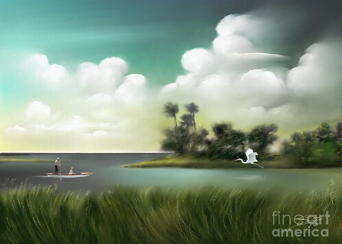 Landscapes Greeting Card featuring the painting Enchanted Florida by - Artificium -