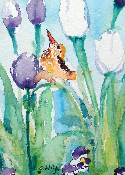 Flowers Greeting Card featuring the painting Enchanted With Divine Love by Ashleigh Dyan Bayer