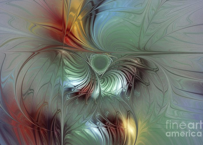 Abstract Greeting Card featuring the digital art Enchanting Flower Bloom-abstract Fractal Art by Karin Kuhlmann
