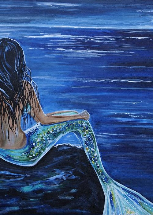 Mermaid Painting Greeting Card featuring the painting Enchanting Mermaid by Leslie Allen