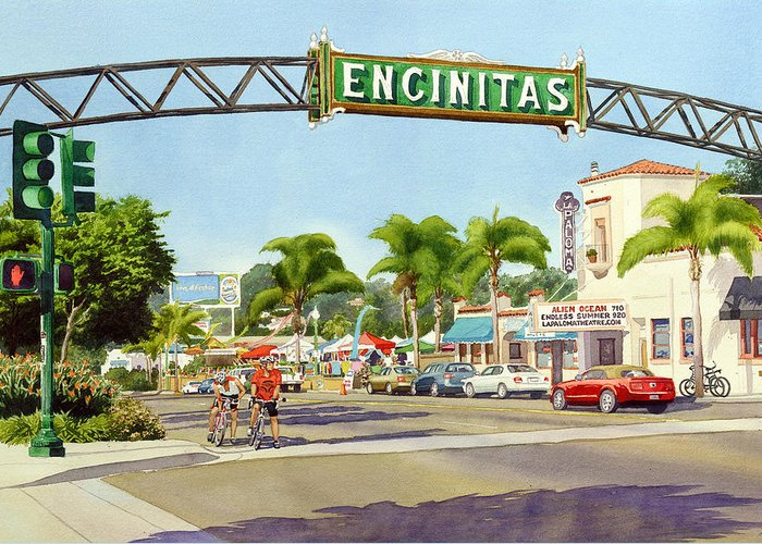Encinitas Greeting Card featuring the painting Encinitas California by Mary Helmreich