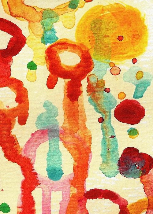 Abstract Greeting Card featuring the painting Encounters 1 by Amy Vangsgard