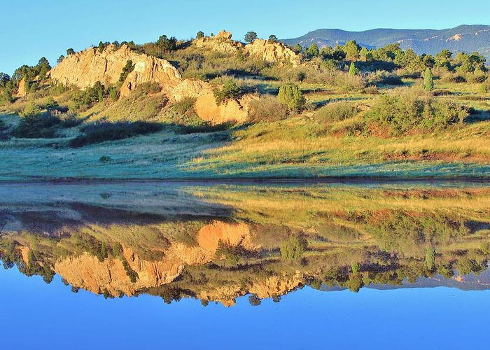 Garden Of The Gods Greeting Card featuring the photograph End Of Summer Reflections 2 by Diane Alexander