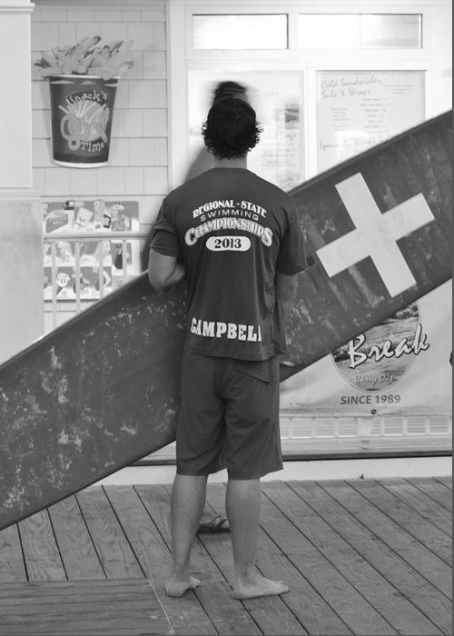 Lifeguard Greeting Card featuring the photograph End Of The Day - Black And White by Kim Bemis