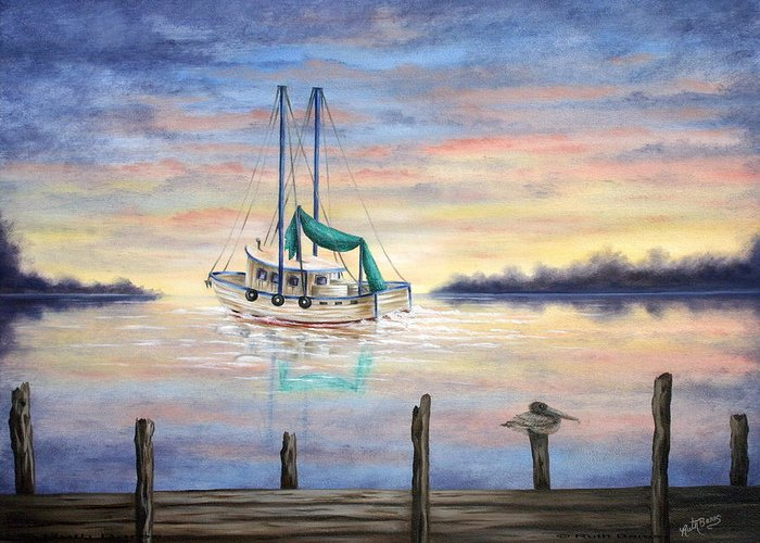 Seascape Greeting Card featuring the painting End Of The Day by Ruth Bares