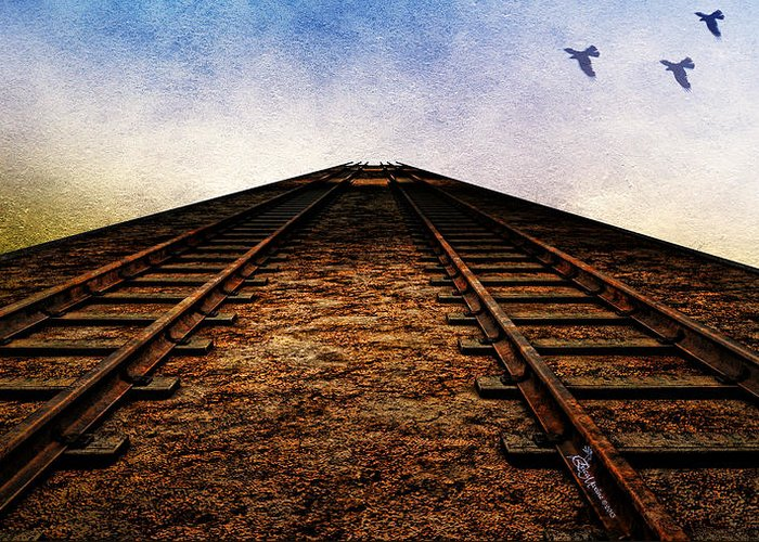 Railroad Greeting Card featuring the photograph End Of The Line by Ericamaxine Price