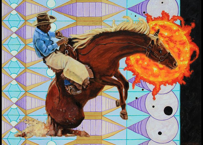 Cowboy Greeting Card featuring the painting End of The Ride by John Lautermilch