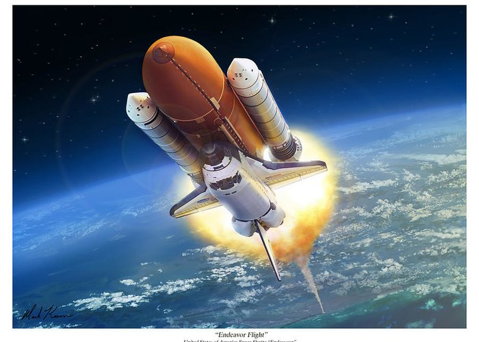 Space Shuttle Greeting Card featuring the painting Endeavour Flight by Mark Karvon