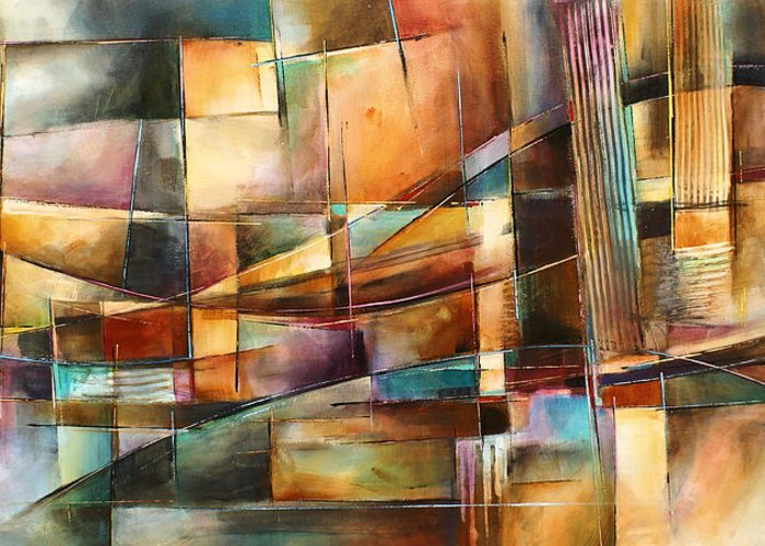 Abstract Painting Greeting Card featuring the painting 'endless Shift' by Michael Lang