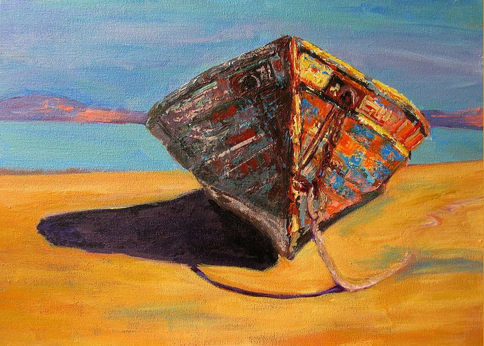 Boat Greeting Card featuring the painting Endurance by Patricia Awapara