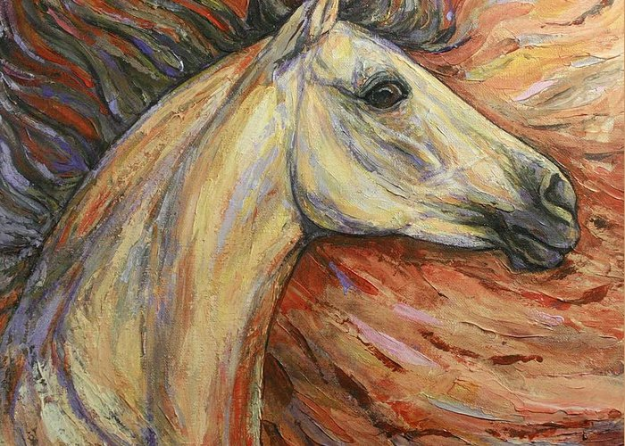 Horse Greeting Card featuring the painting Energy by Silvana Gabudean Dobre