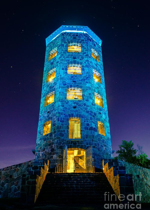 Enger Tower Greeting Card featuring the photograph Enger After Dark by Ever-Curious Photography
