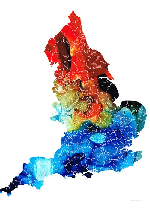 England Greeting Card featuring the painting England - Map Of England By Sharon Cummings by Sharon Cummings