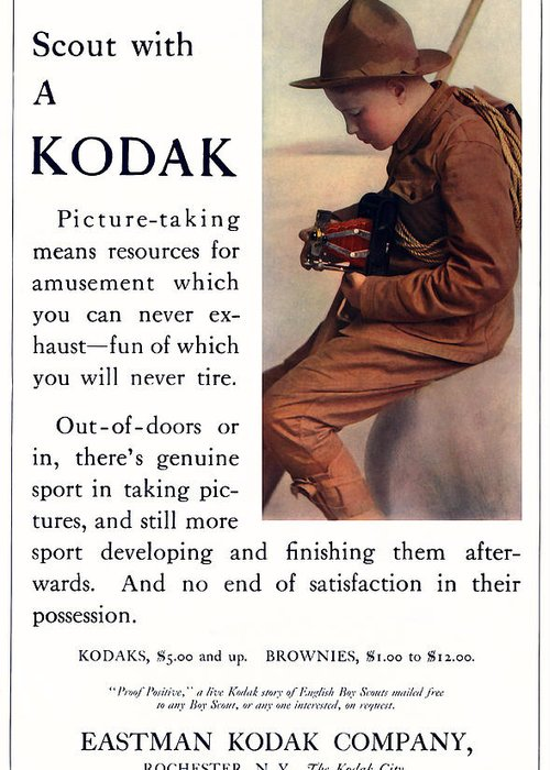 Scout Greeting Card featuring the photograph English Boy Scout. Circa 1913. by Unknown Photographer