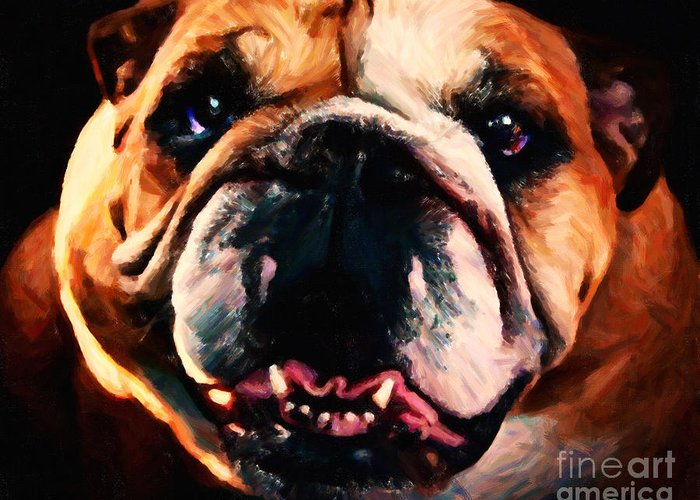 Animal Greeting Card featuring the photograph English Bulldog - Painterly by Wingsdomain Art and Photography