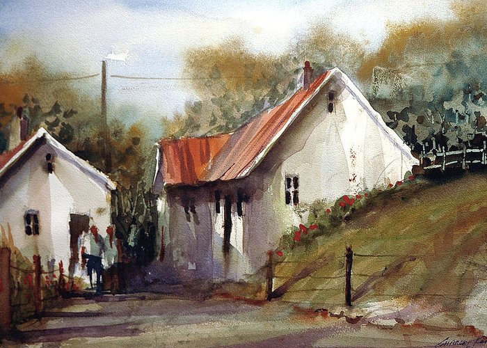 Landsscape Greeting Card featuring the painting English Country Lane by Charles Rowland