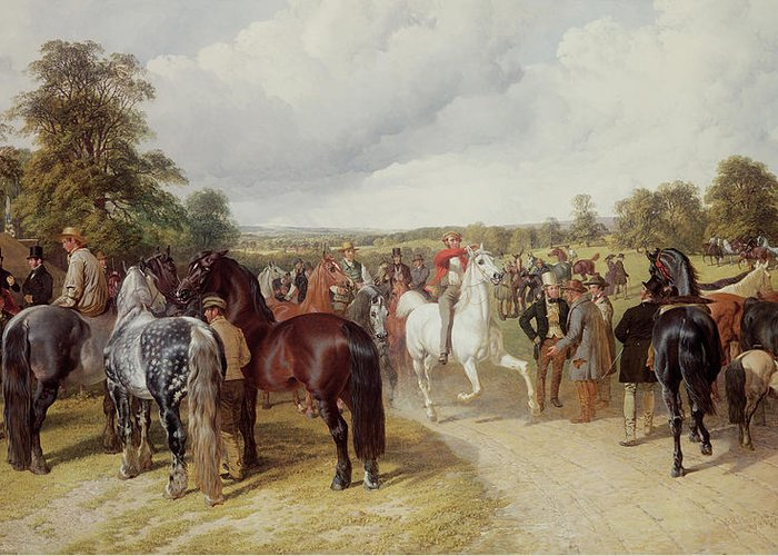 Gathering Greeting Card featuring the painting English Horse Fair On Southborough Common by John Frederick Herring Snr