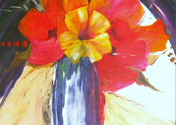 Abstract;red;still Life Greeting Card featuring the painting Enigma by Liz McQueen