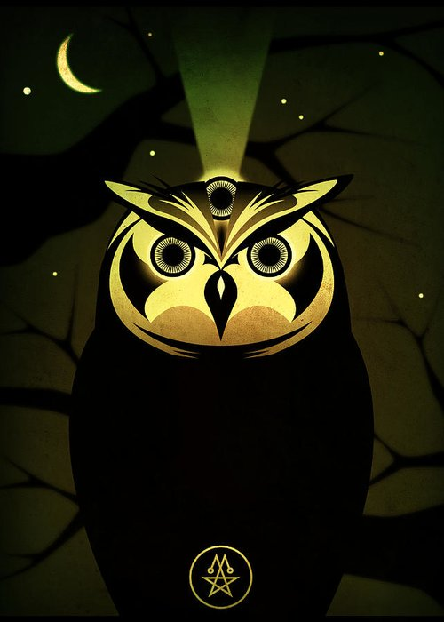 Owl Greeting Card featuring the digital art Enlightened Owl by Milton Thompson