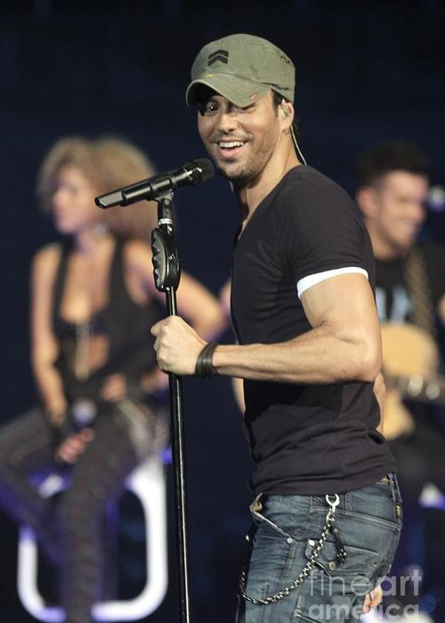 Pictures Greeting Card featuring the photograph Enrique Iglesias by Concert Photos