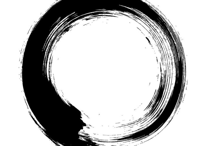 East Greeting Card featuring the digital art Enso – Circular Brush Stroke Japanese by Thoth adan