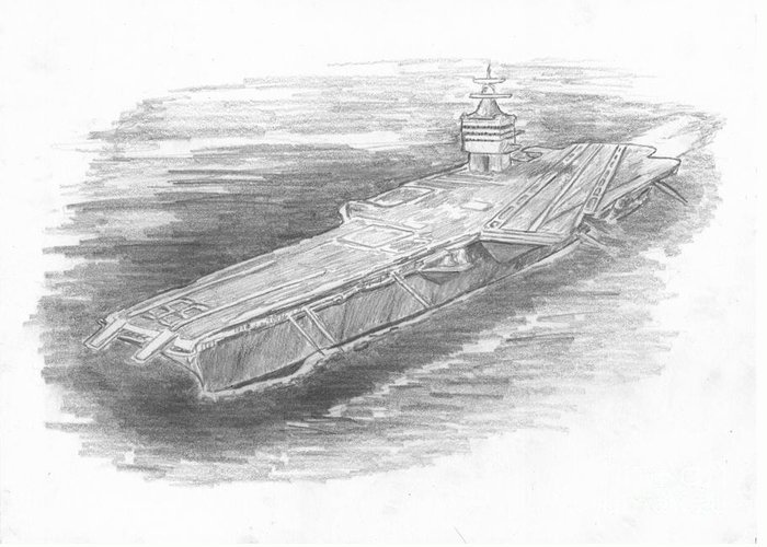 Naval Greeting Card featuring the drawing Enterprise Aircraft Carrier by Michael Penny