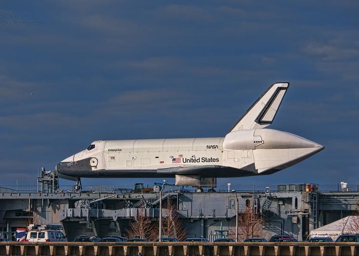Enterprise Shuttle Greeting Card featuring the photograph Enterprise At The Intrepid by S Paul Sahm