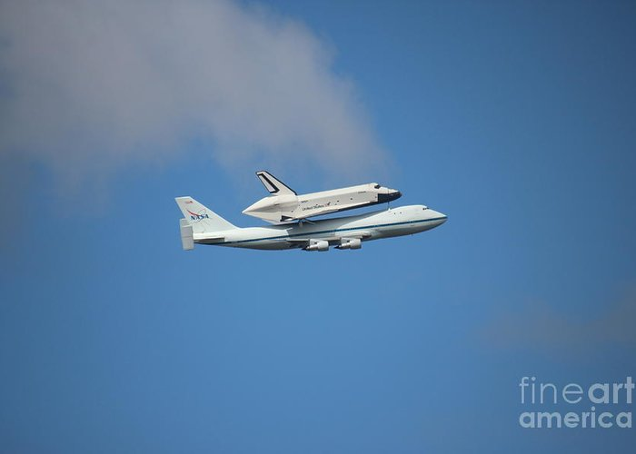 Enterprise Space Shuttle Boeing Airplane Sky Blue Cloud Travel Airspace Greeting Card featuring the photograph Enterprise by Mircea Nicolescu Photography