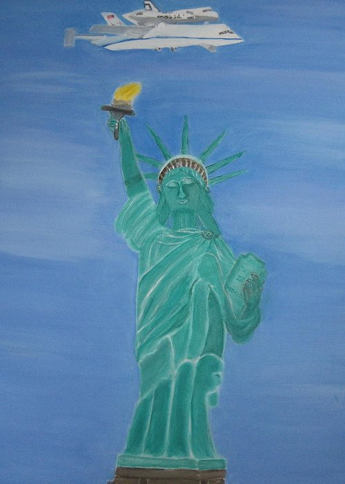 Space Shuttle Enterprise Greeting Card featuring the painting Enterprise On Statue Of Liberty by Vandna Mehta