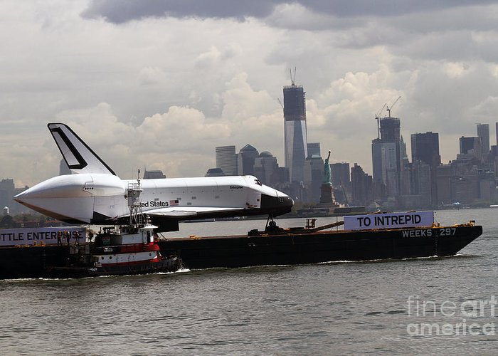 Space Shuttle Greeting Card featuring the photograph Enterprise To The Intrepid Air And Space Museum by Steven Spak