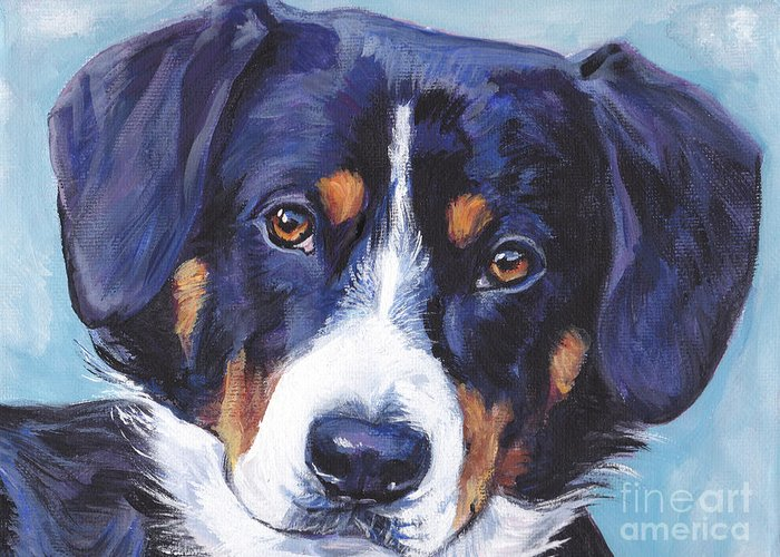 Entlebucher Mountain Dog Greeting Card featuring the painting Entlebucher Mountain Dog by Lee Ann Shepard