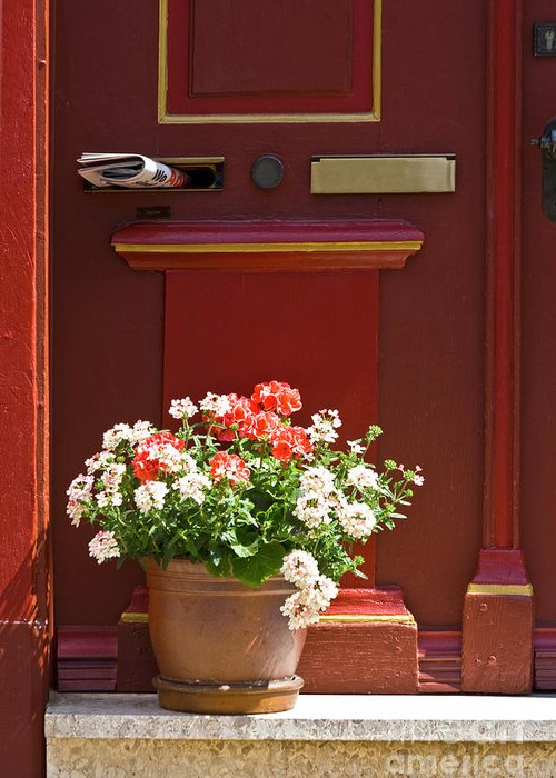 Greeting Card featuring the photograph Entrance Door With Flowers by Heiko Koehrer-Wagner