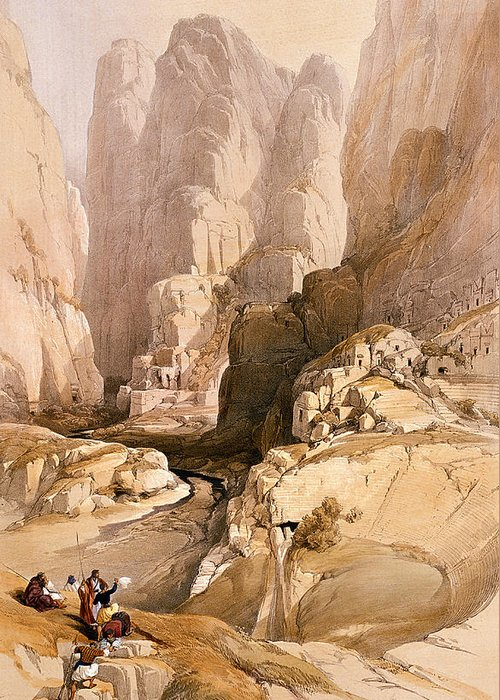 David Greeting Card featuring the painting Entrance To Petra by David Roberts