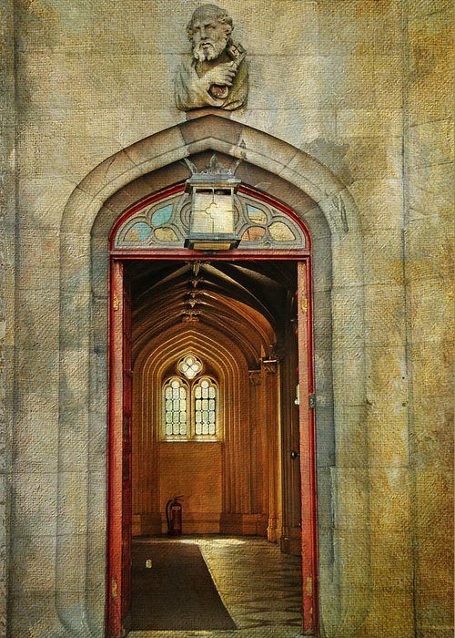 Ireland Greeting Card featuring the photograph Entrance To The Gothic Revival Chapel. Streets Of Dublin. Painting Collection by Jenny Rainbow
