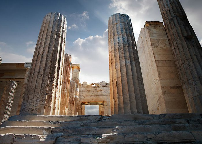 Tranquility Greeting Card featuring the photograph Entryway Into The Acropolis by Ed Freeman