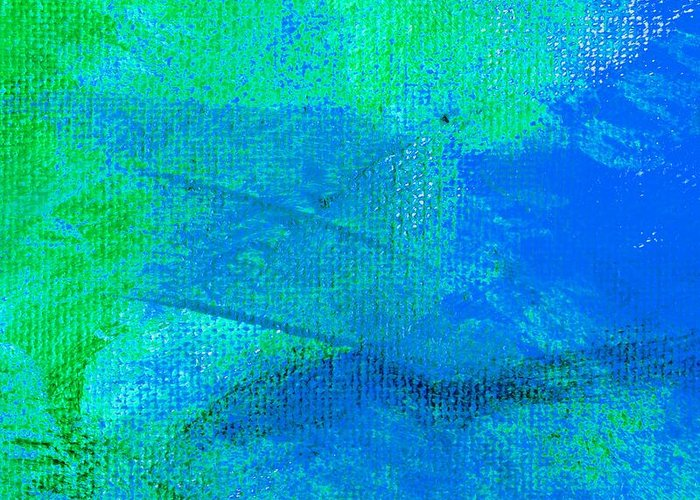 Abstract Greeting Card featuring the painting Envision Aqua Blue by L J Smith