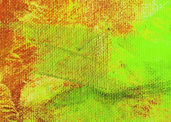 Abstract Greeting Card featuring the painting Envision Orange Green by L J Smith