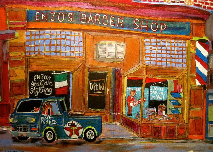 Enzo's Barber Shop Greeting Card featuring the painting Enzo's Barber Shop by Michael Litvack