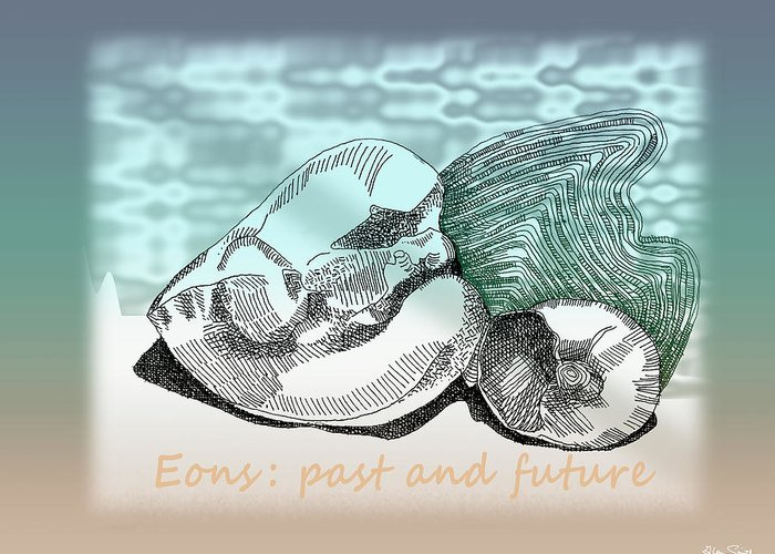 Eons Greeting Card featuring the digital art Eons Past And Present by Richard Glen Smith