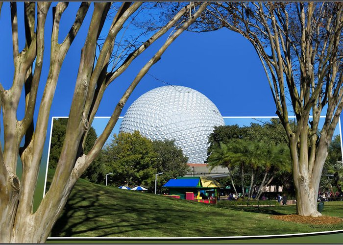 Out Of Bounds Greeting Card featuring the photograph Epcot Globe 02 by Thomas Woolworth