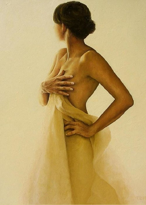 Nude Greeting Card featuring the painting Ephemeral Nude 3 by Trisha Lambi