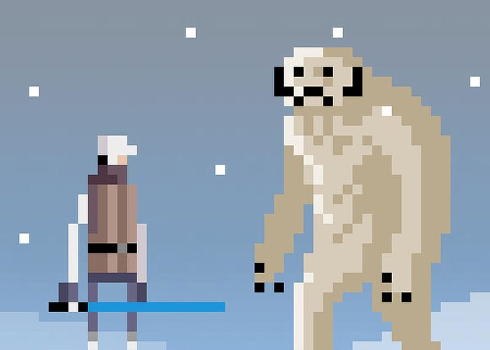 Luke Greeting Card featuring the digital art Epic battle in the snow by Michael Myers