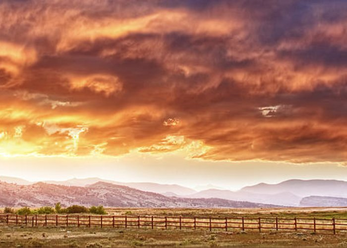 Country Greeting Card featuring the photograph Epic Colorado Country Sunset Landscape Panorama by James BO Insogna