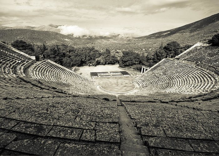 Epidavros Greeting Card featuring the photograph Epidavros Theatre by David Waldo