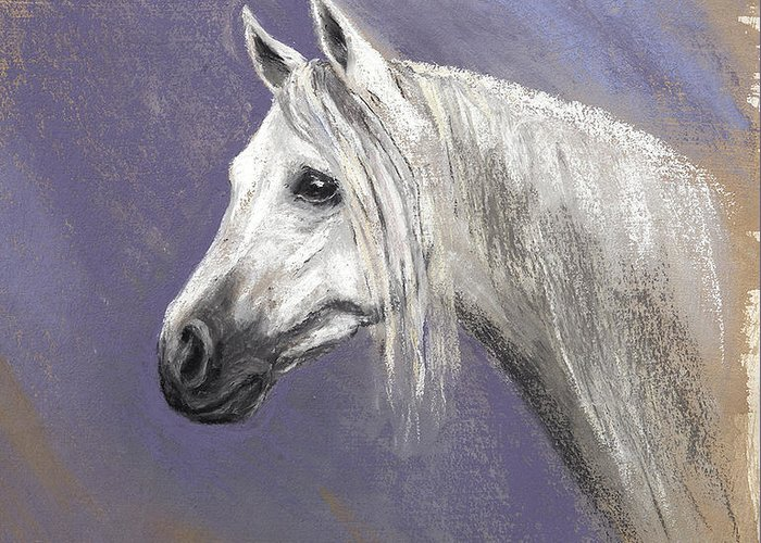 Epona Greeting Card featuring the painting Epona At Night by Kathryn Dalziel