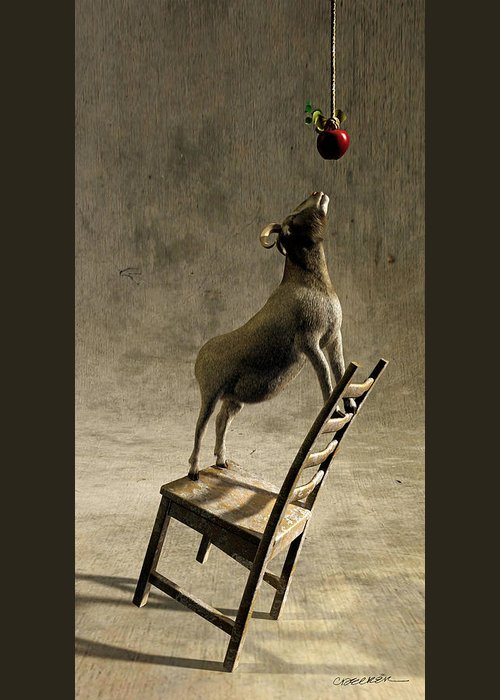 Goat Greeting Card featuring the digital art Equilibrium by Cynthia Decker