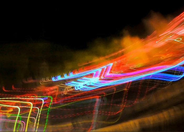 Abstract Greeting Card featuring the photograph Erasing Streetlights by Michele Stoehr