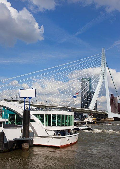 Rotterdam Greeting Card featuring the photograph Erasmus Bridge In Rotterdam City Downtown by Artur Bogacki