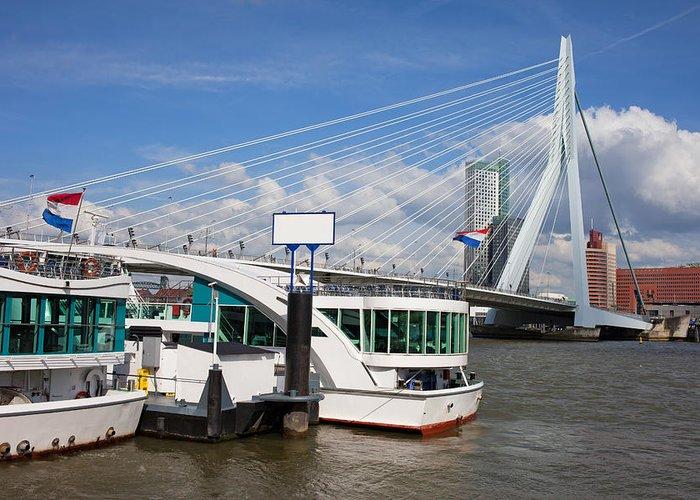 Rotterdam Greeting Card featuring the photograph Erasmus Bridge In Rotterdam Downtown by Artur Bogacki