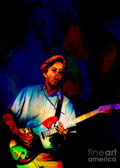 Eric Greeting Card featuring the painting Eric Clapton 2 by Andrzej Szczerski